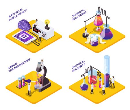 Science 4x1 isometric set of platforms with small characters of scientists with test tubes and text vector illustration