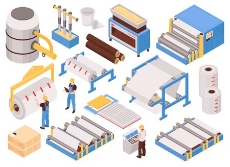 Paper manufacturing automated process machinery isometric set with pulping pressing drying sheet forming packaging isolated