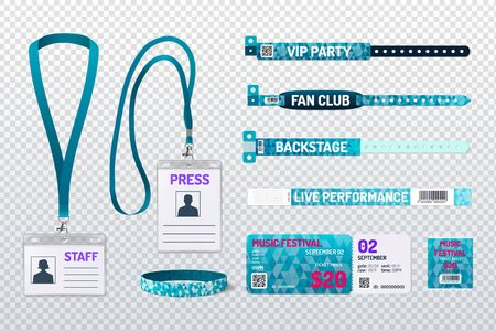 Party passes festival tickets staff press id cards club members wristbands green realistic set transparent background vector illustration
