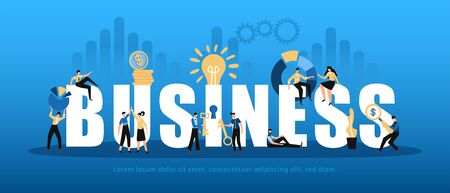 Business analytics horizontal white lettering decorated with people sharing innovative profitable ideas analyzing data background vector illustration