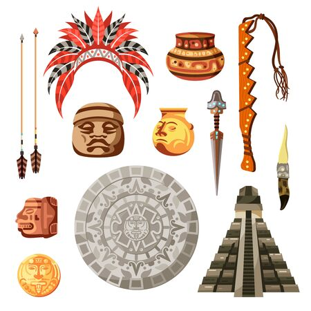 Colored cartoon maya civilization culture icon set with different attributes and elements vector illustration 向量圖像