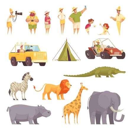 Safari travel funny flat icons collection with tourists jeep vehicle tent wild african animals isolated vector illustration