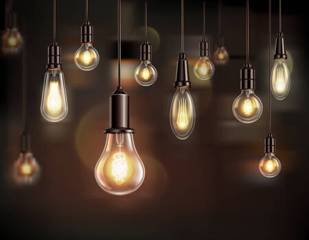 Vintage light bulbs realistic background composition with shining lamps of various shape with blurs and shadows vector illustration 向量圖像