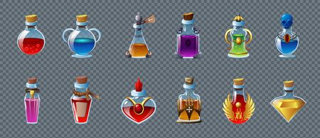 Colorful game magic potions in different bottles realistic set isolated on transparent background vector illustration