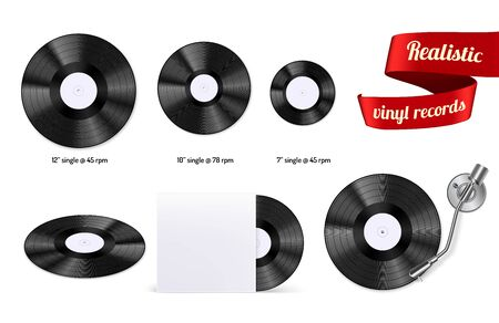 Retro vinyl discs records set different sizes singles with stylus needle realistic top view image vector illustration Ilustrace