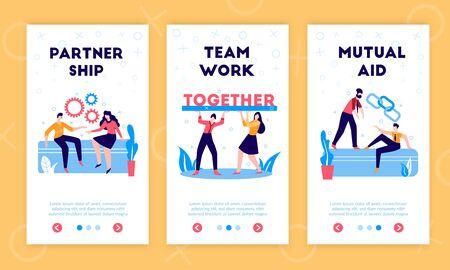 Business partnership cooperation support sharing funds responsibilities profits 3 vertical flat web banners with teamwork symbols vector illustration Vektorgrafik