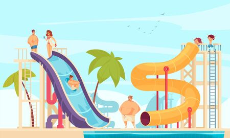 Family holiday in aqua park with tube water slides attractions for all ages comics composition vector illustration Illusztráció
