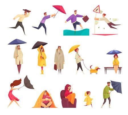 Los iconos divertidos de la historieta del mal tiempo lluvioso ventoso fijaron con la gente que lleva a cabo el ejemplo del vector de los paraguas del revés
