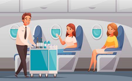 Steward ofreciendo bebidas a los pasajeros en la ilustración de vector de dibujos animados de avión Ilustración de vector