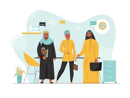 Flat and colored arabs business composition three people at work in the office vector illustration