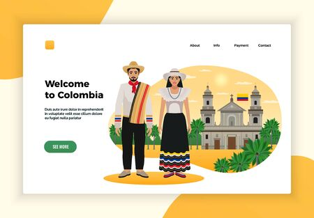 Colombia tourism page design with payment and contact symbols flat vector illustration
