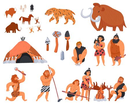 Primitive men their tools and weapons and wild animals cartoon icons set isolated on white background vector illustration