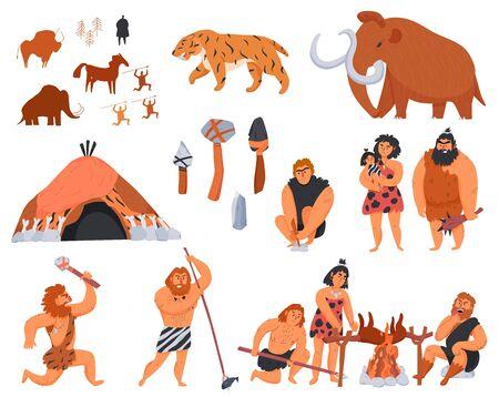 Uomini primitivi i loro strumenti e armi e le icone dei cartoni animati di animali selvatici messe isolate sull'illustrazione bianca di vettore del fondo Vettoriali