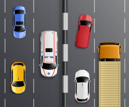 Cars top view realistic composition with traffic lanes barrier and colourful cars with ambulance and truck vector illustration