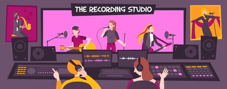 Colored and flat recording studio composition with the recording studio description group sings songs vector illustration
