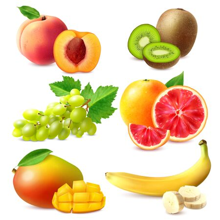 Realistische Früchte mit ganzen und in Scheiben geschnittenen reifen Bananen-Mango-Kiwi-Grapefruit-Trauben Pfirsich isolierte Vektorillustration Vektorgrafik