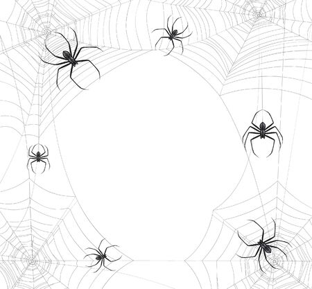 Black spiders web realistic background with round composition of insects sitting on spidernet with empty space vector illustration
