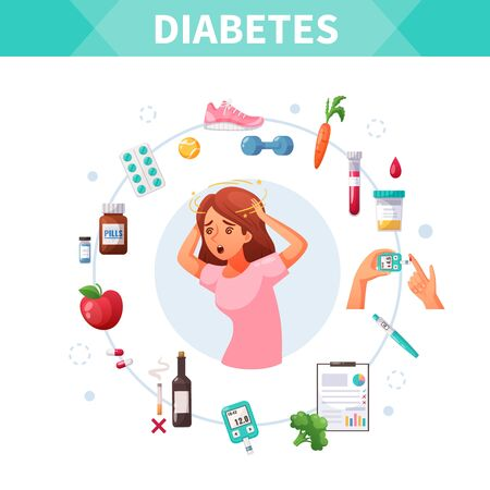 Cartoon concept with diabetes treatment and woman suffering from dizziness vector illustration