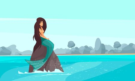Sailors mythology popular sea nymphs flat composition with mermaid sitting on rock surrounded by water vector illustration  イラスト・ベクター素材