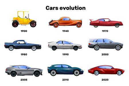 Flat design set of car models evolution symbols isolated on white background vector illustration