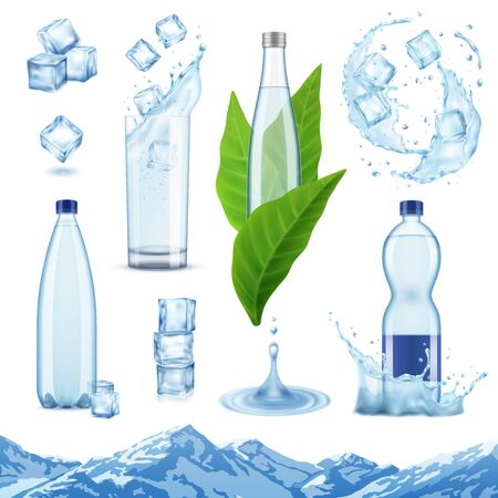 Realistic mineral water set with isolated images of ice cubes plastic and glass bottles with leaves vector illustration Archivio Fotografico - 133933319