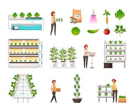 Set di agricoltura in serra con idroponica verticale e simboli aeroponici fumetto illustrazione vettoriale