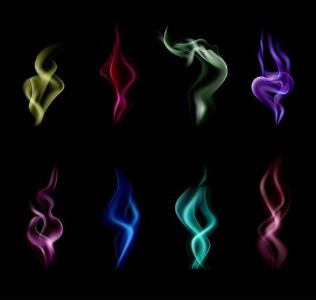Realistic and isolated smoke colorful icon set with different colors abstract and magical vector illustration Ilustração