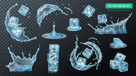 Realistic ice cubes water splash set with isolated images of liquid on transparent background with text vector illustration Archivio Fotografico - 133933326