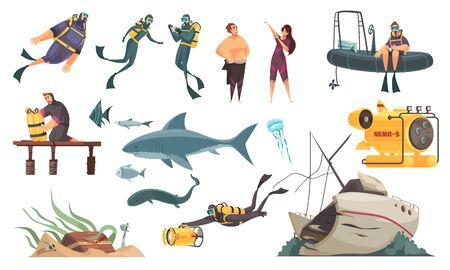 Scuba diving flat comics elements set swimming with fish ocean bottom sunken ship wetsuit bathyscaphe vector illustration