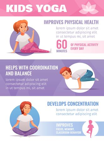 Kids yoga infographic set with coordination and balance symbols cartoon vector illustration