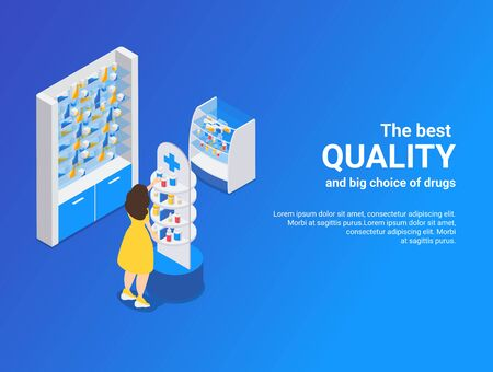 Pharmacy isometric blue background illustrated best quality and big choice of drugs vector illustration