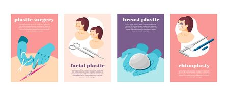 Plastic surgery process equipment and female face before and after operation isometric icons set isolated vector illustration Ilustração