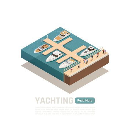 Yachting isometric colored composition with five different boats and green read more button vector illustration 向量圖像