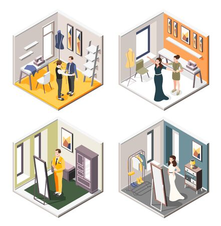 Wedding planning 2x2 design concept set of isometric interiors of tailor shop with future newlyweds trying on wedding costumes and dresses vector illustration