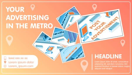 Advertising in metro collage with headline and location symbols isometric vector illustration