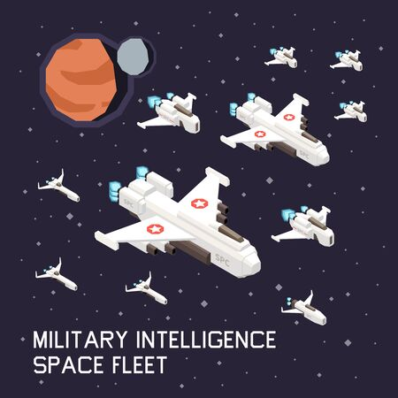 Isometric composition with military space ships flying on background with planets and stars 3d vector illustration Stock Illustratie