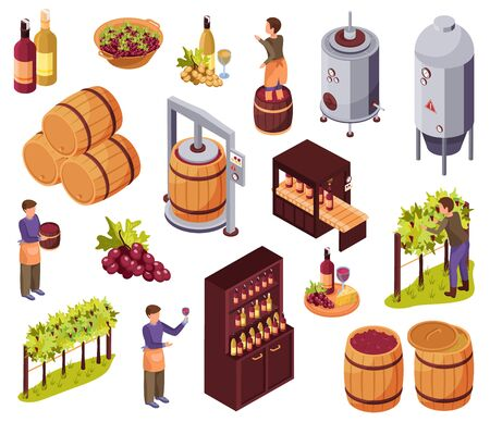 Wine production icons set with harvest and restaurant symbols isometric isolated vector illustration