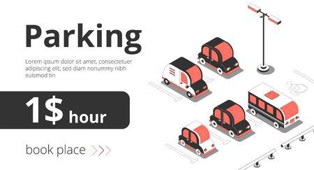 Fondo isométrico del coche de banner publicitario con vista de plazas de aparcamiento con coches y texto con ilustración de vector de precio