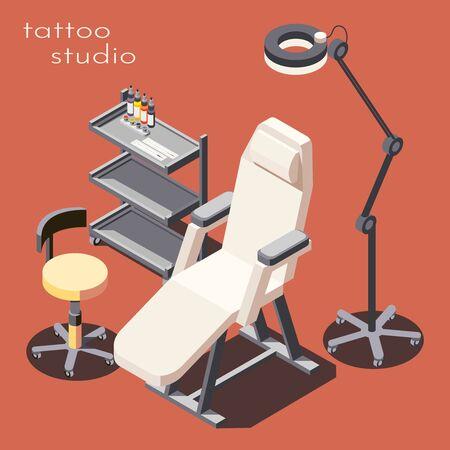 Affiche de fond publicitaire isométrique d'équipement de mobilier professionnel de studio de tatouage avec illustration vectorielle de lampadaire de poste de travail de fauteuil client Vecteurs