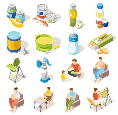 Baby food accessories isometric icons collection with bottle breastfeeding high chair milk powder puree jars vector illustration Illustration