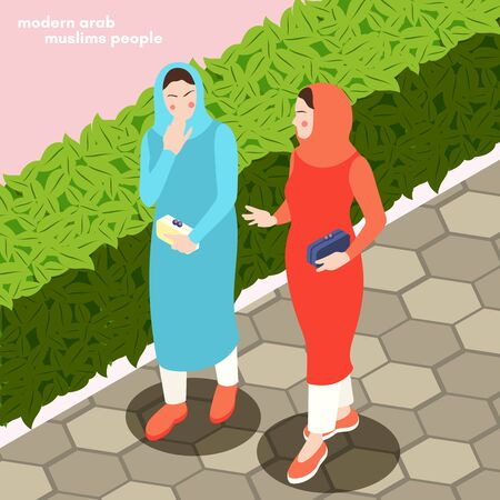 Modern young arab ladies in traditional muslim clothes walking outdoor isometric composition city park background vector illustration 向量圖像