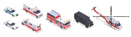 Emergency service transport isometric icons set with fire engine ambulance police car helicopter 3d isolated vector illustration