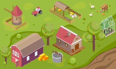 Countryside background with windmill house granary and greenhouse isometric vector illustration