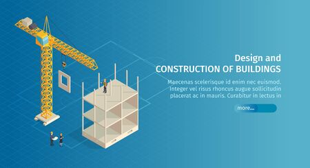 Isometric construction horizontal banner with slider button text and images of crane with half-constructed building vector illustration