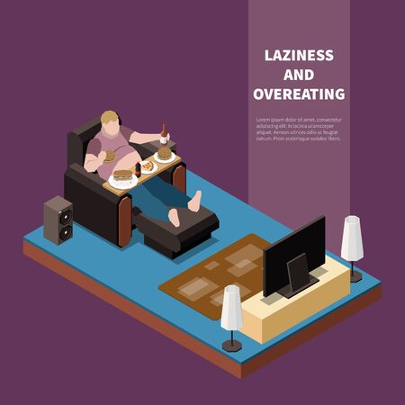Overweight lazy man suffering from gluttony eating and drinking in front of tv 3d isometric vector illustration
