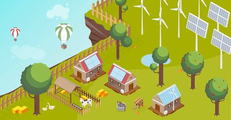 Countryside composition with windmill solar energy battery and baloons isometric vector illustration