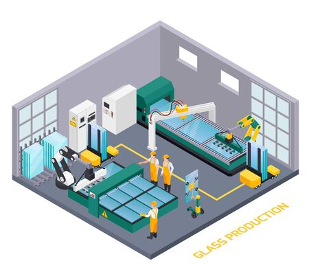Glass production isometric composition with text and indoor view of glassworks operating department with human workers vector illustration