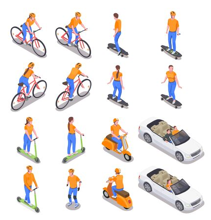 Men and women using various personal transport isometric icons set isolated on white background 3d vector illustration