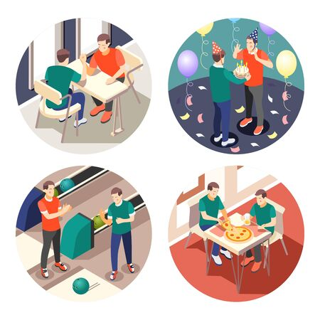 True male friendship 4x1 isometric icons set with men celebrating holidays eating playing 3d isolated vector illustration