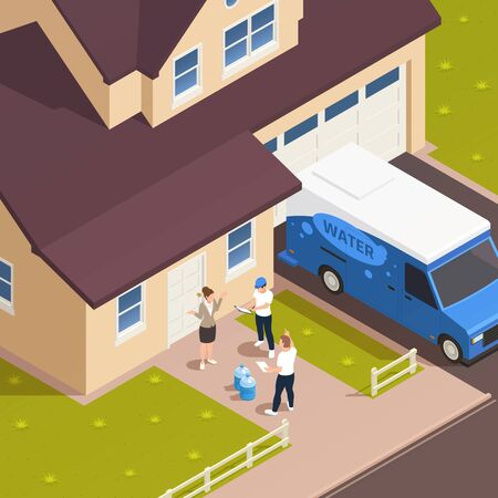 Water delivery isometric outdoor composition with entrance to living house with characters of worker and hosts vector illustration